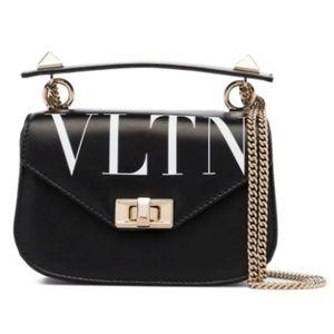 VALENTINO VLTN Small Chain Shoulder Bag NEW Black